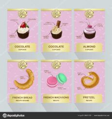 sample desserts and pastry vector menu template price design for bakery cakes or  cupcakes sweet macarons pretzel french bread vector set of cupcakes and cupcake menu template sample
