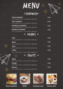 sample school canteen menu design template in psd word publisher school canteen menu template word