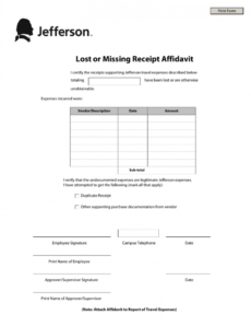 sample template missing receipt form template lost receipt form missing receipt form template example