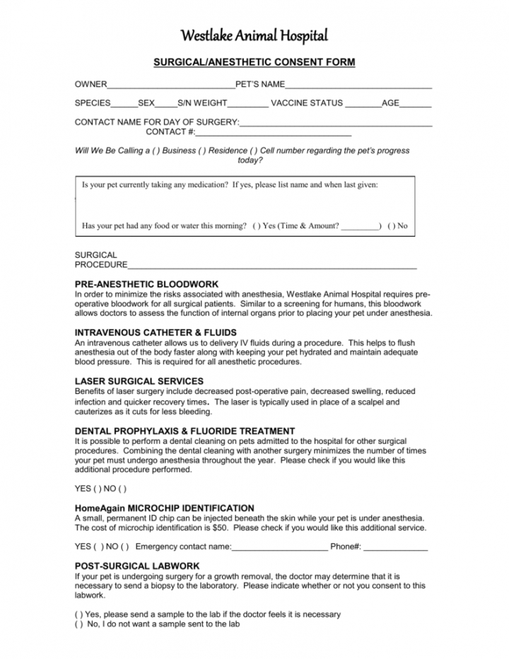surgicalanesthetic consent form oral surgery consent form template