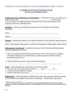 30 medical release form templates ᐅ templatelab mental health release of information form template