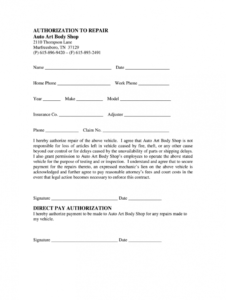 editable authorization to repair form  fill online printable repair authorization form template word
