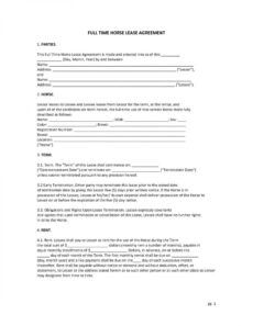 editable download free full time horse lease agreement  printable horse lease form template doc