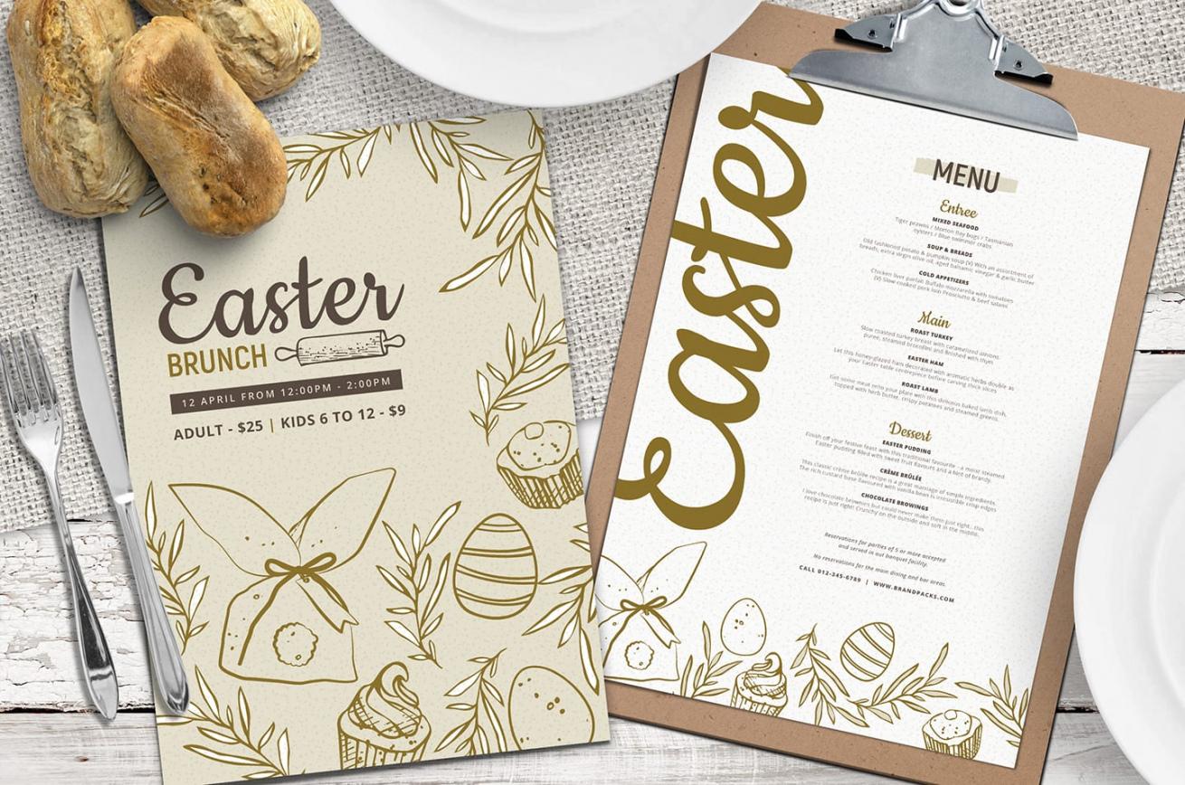 editable easter menu template vol3  psd vector & ai  brandpacks easter brunch menu template