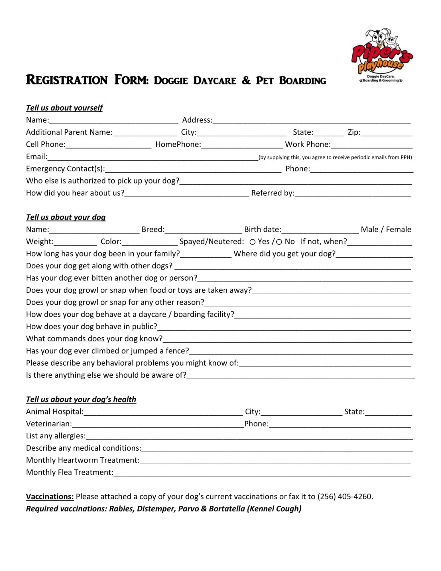 editable free 11 daycare registration forms in pdf  ms word pet boarding form template excel