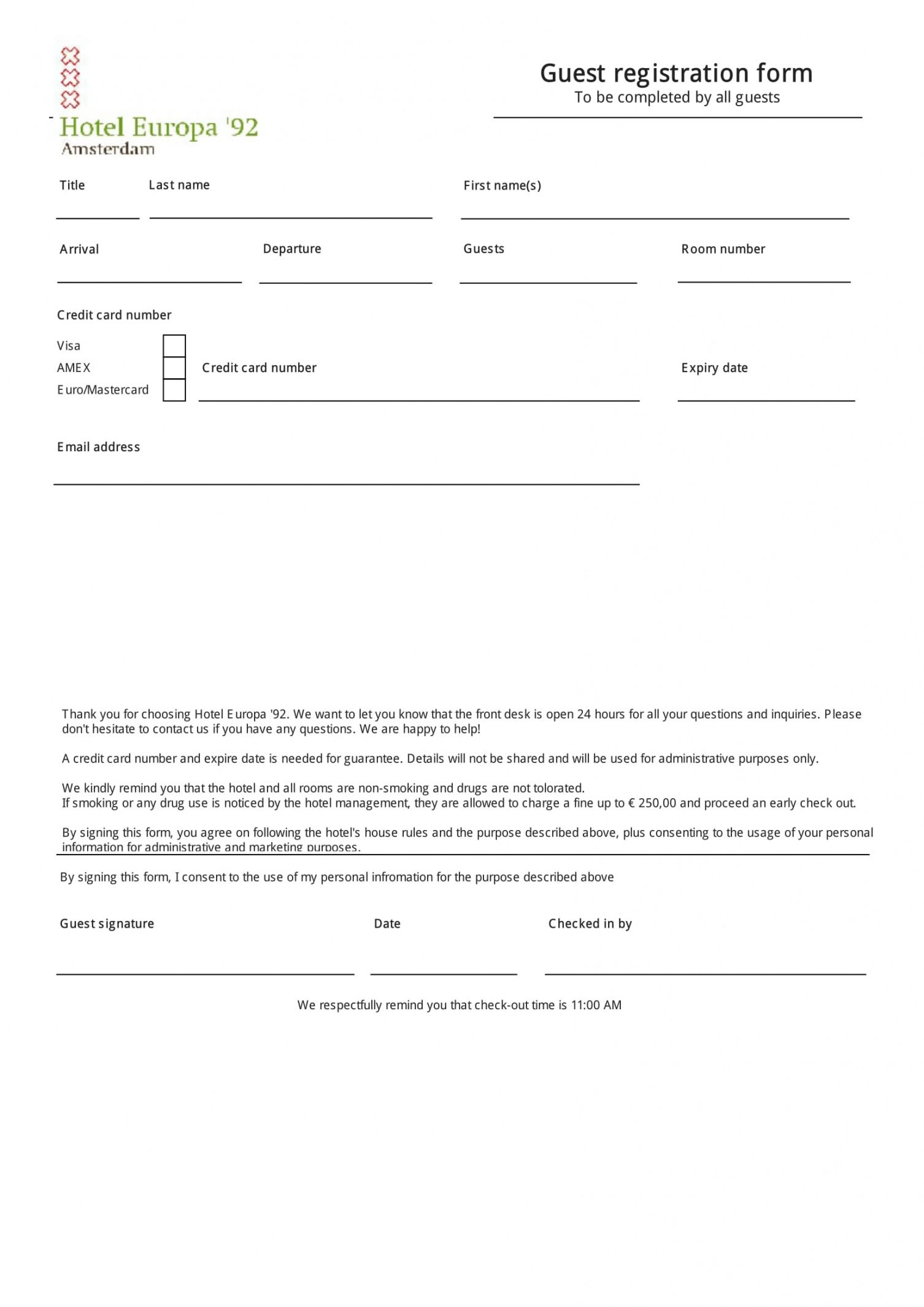 editable free 11 registration forms  patient registration form hotel guest registration form template doc