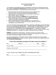 editable gym waiver form  fill online printable fillable blank fitness waiver form template pdf