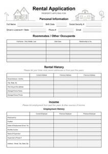 editable simple rental application form 2021  pdf word template home rental application form template doc