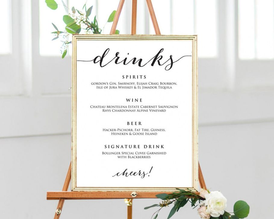 editable wedding drinks menu template wedding bar menu template sample