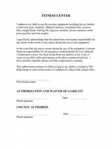 fitness waivers  fill online printable fillable blank fitness waiver form template example