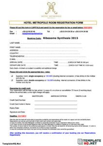 free 4 best hotel registration form  template hq hotel guest registration form template example