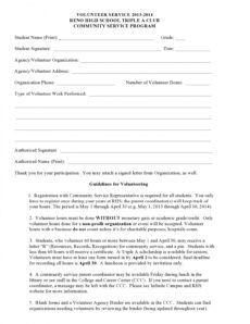 free 44 printable community service forms ms word ᐅ templatelab school volunteer form template doc