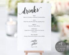 free bar menu sign wedding bar sign bar sign wedding bar menu wedding bar menu template word