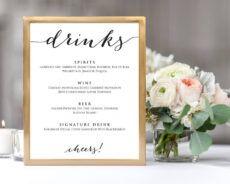 free drinks menu template wedding bar menu template