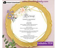 free geometric round menu card template printablefloral round round menu template sample