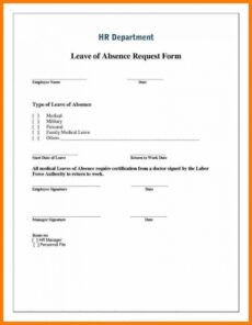 free leave of absence form template ~ addictionary medical leave of absence form template doc