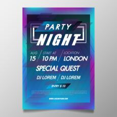 free music festival poster template colorful night club party nightclub poster template example