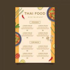 free plantilla de vector de menú de comida de tailandia thai restaurant menu template pdf