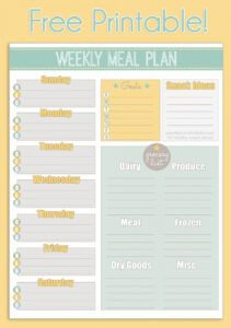 free printable weekly meal planner  calendar meal menu template sample