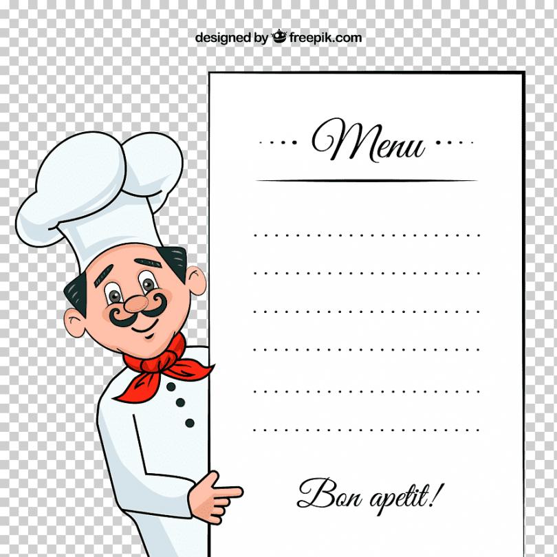free smiling chef showing menu board menu chef takeout personal chef menu template sample