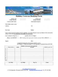 free static caravan booking form template  fill online party booking form template sample