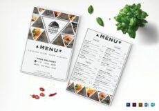 free triangle dinner menu design template in psd word publisher publisher menu template example