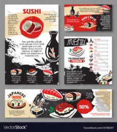 japanese seafood restaurant sushi menu template vector image sushi menu template word