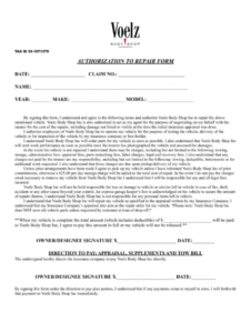printable body shop authorization repair form  fill out and sign printable pdf  template  signnow repair authorization form template doc