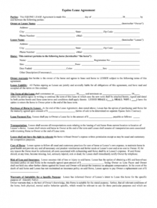 printable equine lease agreement  fill out and sign printable pdf template  signnow horse lease form template sample