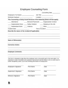 printable free employee counseling form  pdf  word  eforms employee counseling form template excel