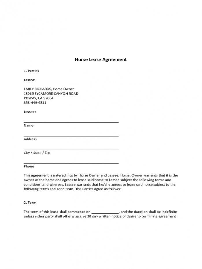 printable horse lease agreement  6 free templates in pdf word excel horse lease form template
