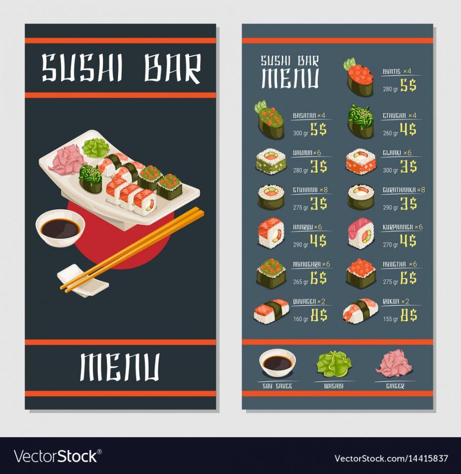 printable japanese restaurant menu template royalty free vector image sushi menu template sample
