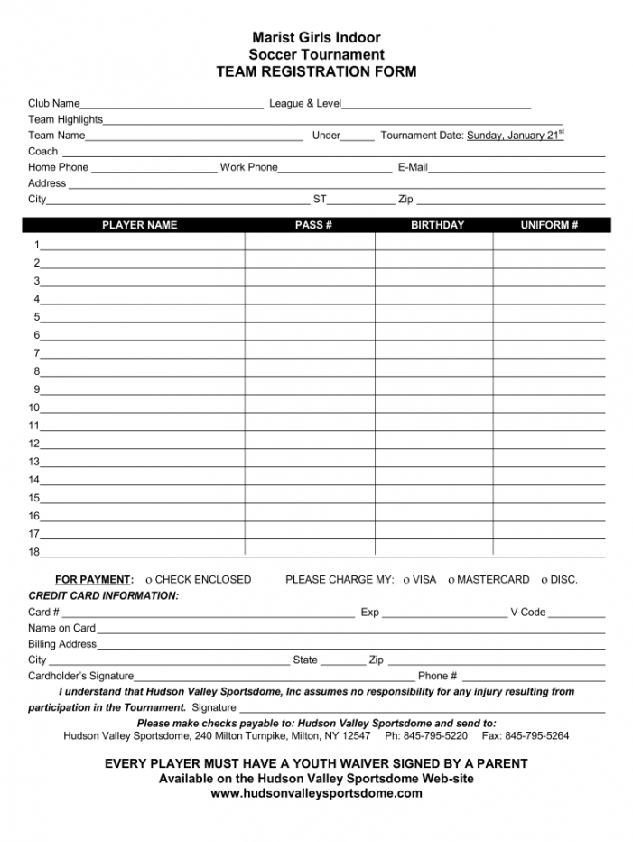 printable tournament registration form template word  fill online tournament registration form template sample