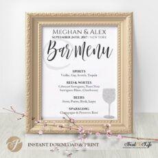 printable wedding bar menu bar menu sign bar menu template wedding bar menu template word