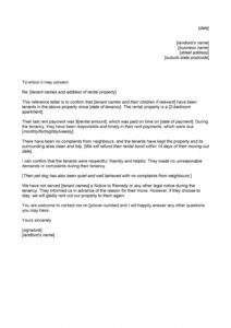 rental reference letter template ~ addictionary rental reference form template