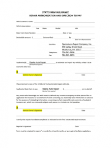repair authorization and direction to pay  fill and sign repair authorization form template excel