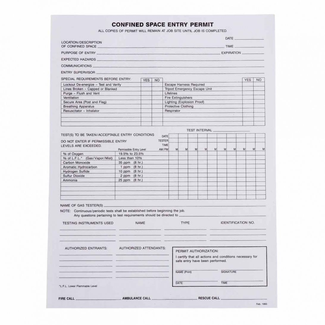 sample confined space entry permits confined space entry form template word