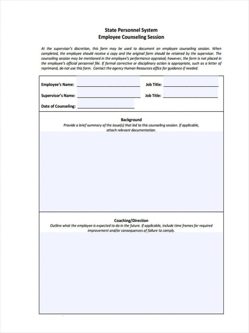 sample free 8 employee counseling forms in pdf employee coaching form template sample