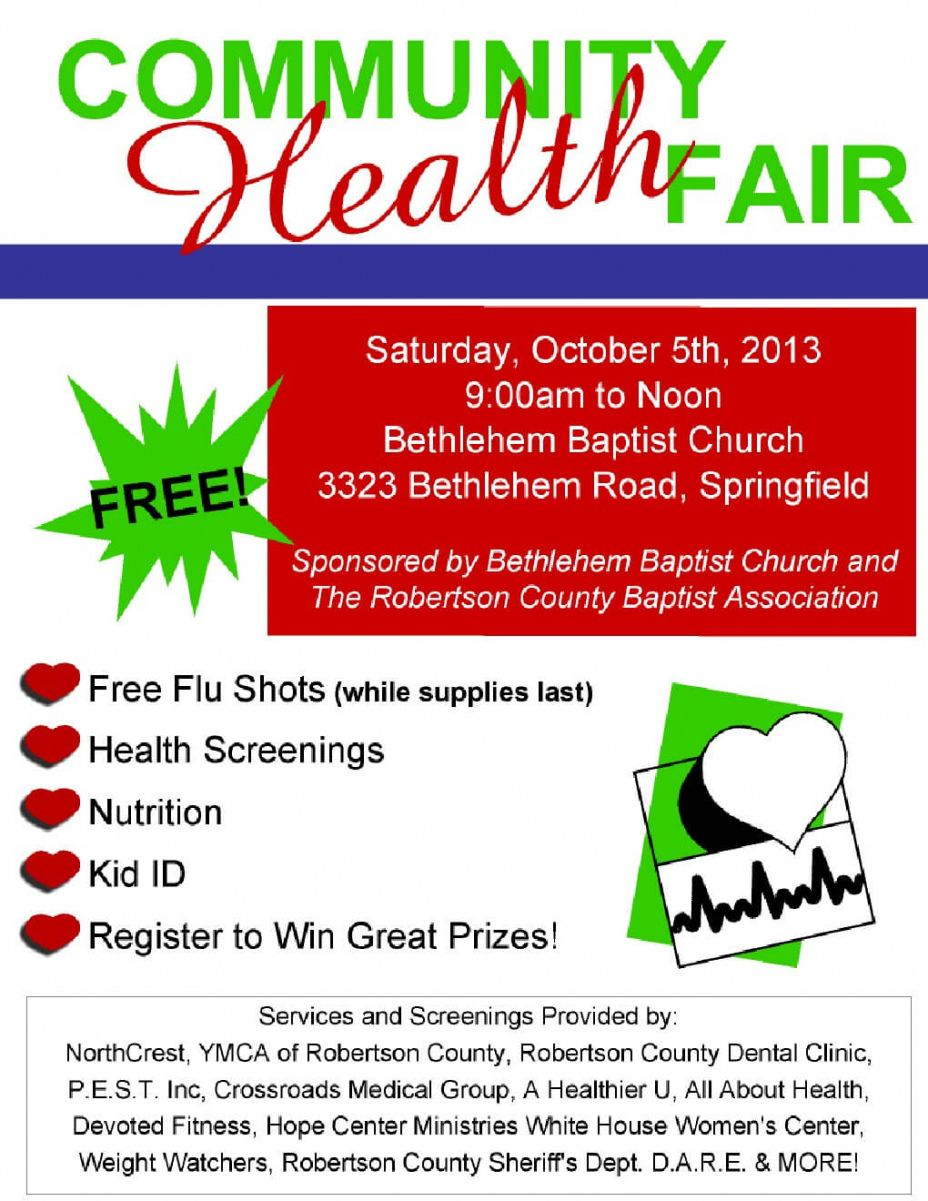 sample free community health fair october 5th!  smokey barn news health fair poster template excel