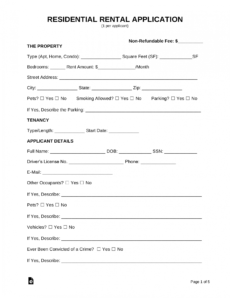 sample free rental application form  pdf  word  eforms home rental application form template