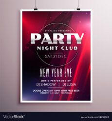 sample nightclub party flyer template design with event vector image nightclub poster template sample