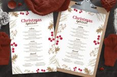 sample rustic christmas menu template  psd ai & vector  brandpacks christmas menu template example