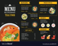 sample thai food restaurant menu template flat design vector image thai restaurant menu template excel