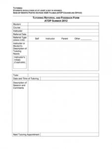 tutoring feedback form  fill online printable fillable tutoring registration form template word