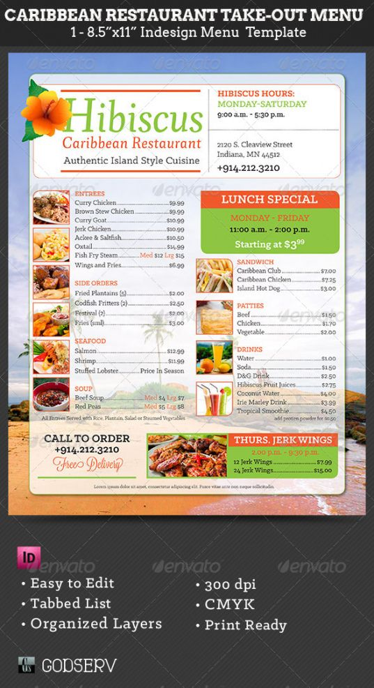 caribbean restaurant takeout menu templategodserv carry out menu template