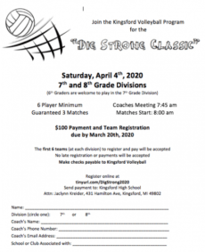 dig strong classic  mrs kreider volleyball registration form template doc