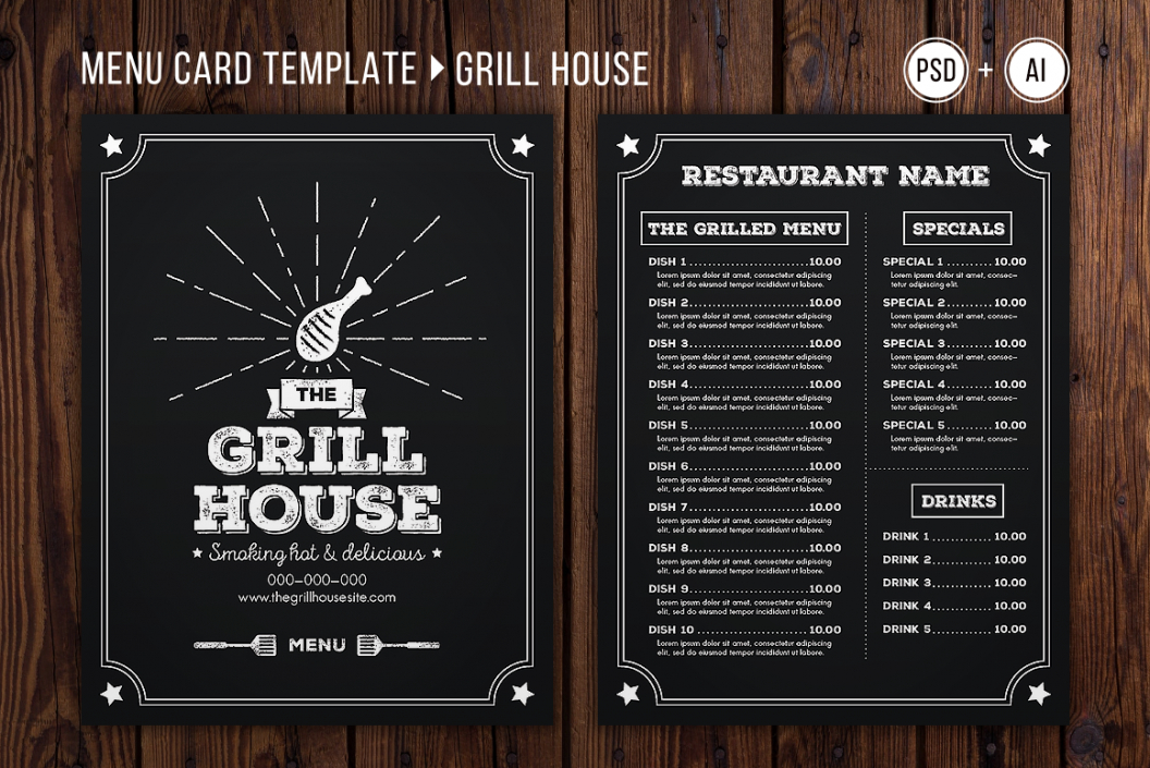 editable grill house menu template grill menu template sample