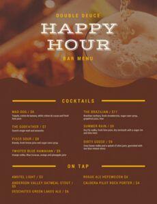 editable pub menu templates  canva happy hour menu template example