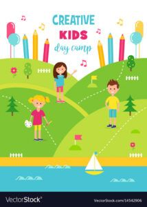 editable summer creative art camp for kids poster template vector image summer fun day poster template