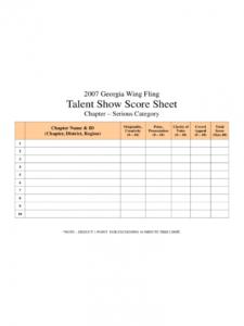 editable talent show score sheet  4 free templates in pdf word talent show registration form template pdf
